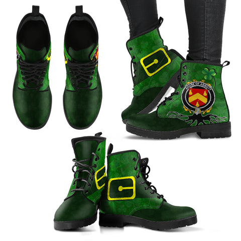 Irish Boots, Abbott Family Crest Shamrock Leather Boots