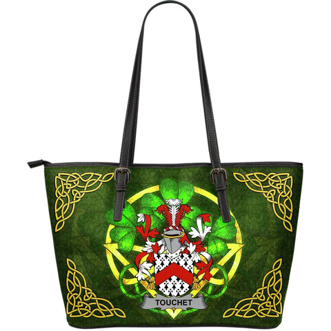 Irish Handbags, Touchet Family Crest Handbags Celtic Shamrock Tote Bag Large Size A7