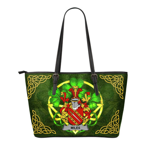 Irish Handbags, Miles or Moyles Family Crest Handbags Celtic Shamrock Tote Bag Small Size A7
