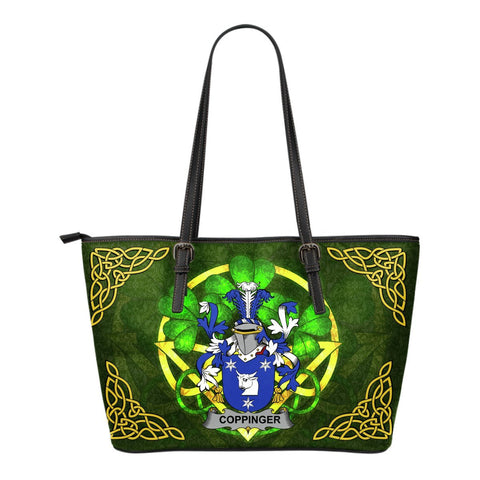 Irish Handbags, Coppinger Family Crest Handbags Celtic Shamrock Tote Bag Small Size A7
