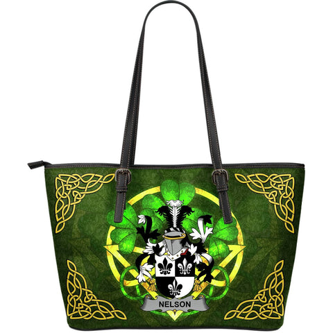 Irish Handbags, Nelson or Nealson Family Crest Handbags Celtic Shamrock Tote Bag Large Size A7