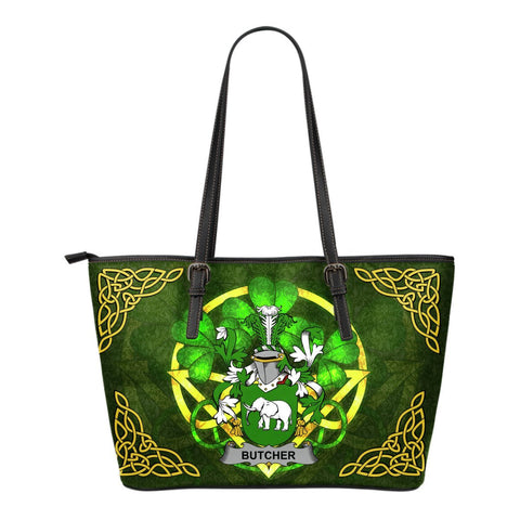 Irish Handbags, Butcher Family Crest Handbags Celtic Shamrock Tote Bag Small Size A7