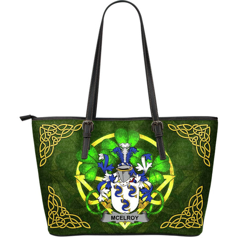 Irish Handbags, McElroy or Gilroy Family Crest Handbags Celtic Shamrock Tote Bag Large Size A7