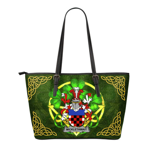 Irish Handbags, Micklethwait Family Crest Handbags Celtic Shamrock Tote Bag Small Size A7
