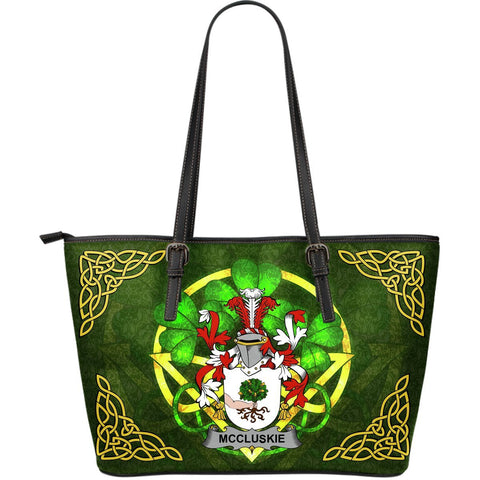 Irish Handbags, McCluskie or McCloskie Family Crest Handbags Celtic Shamrock Tote Bag Large Size A7
