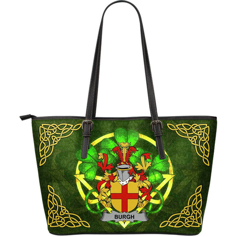 Irish Handbags, Burgh Family Crest Handbags Celtic Shamrock Tote Bag Large Size A7