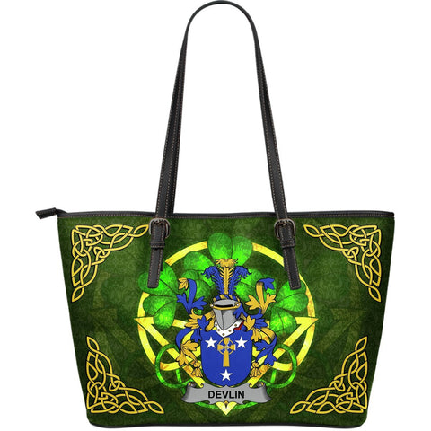 Irish Handbags, Devlin or O'Devlin Family Crest Handbags Celtic Shamrock Tote Bag Large Size A7