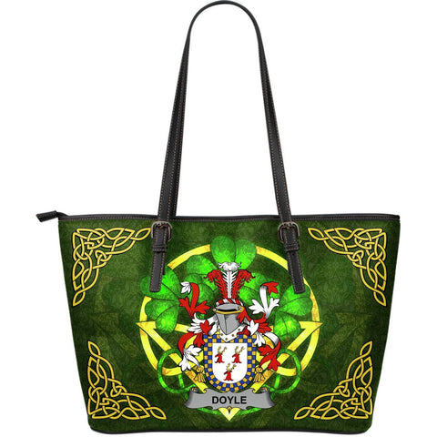 Irish Handbags, Doyle or O'Doyle Family Crest Handbags Celtic Shamrock Tote Bag Large Size A7