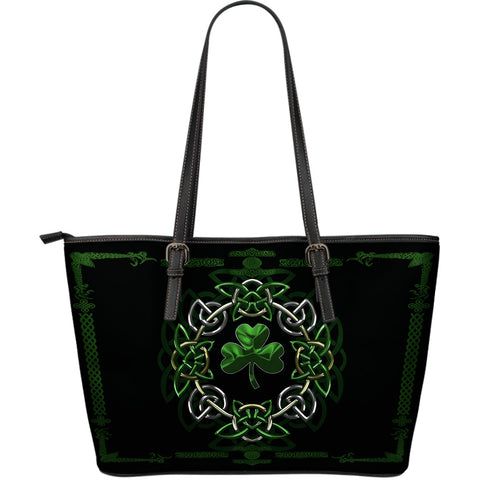Shamrock Mixing Celtic Circle Large Leather Tote Bag