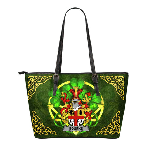 Irish Handbags, Bourke Family Crest Handbags Celtic Shamrock Tote Bag Small Size A7