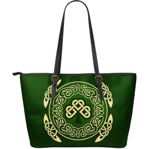 Irish Shamrock Tote Bag, Celtic Knot Leather Tote Bag TH76 1ST