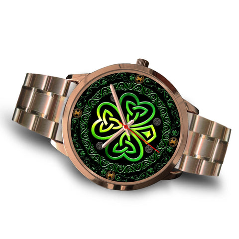 Image of Shamrock The Center Of Celtic Universe Luxurious Rose Gold Watch™