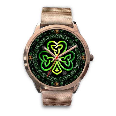Image of 1stIreland™ Shamrock The Center Of Celtic Universe Luxurious Rose Gold Watch