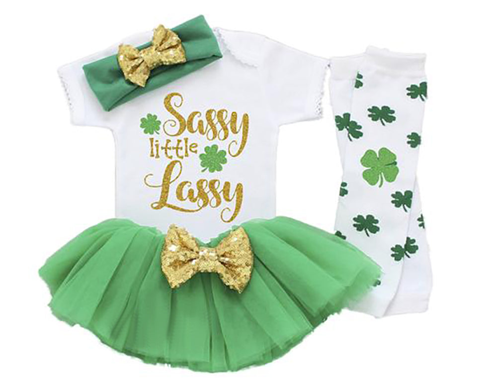 d7da0aaf Sassy Little Lassy St Patricks Day Baby Girl Outfit, Shamrock St ...