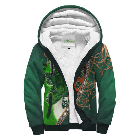 Ireland Sherpa Hoodie - Éire Map with Celtic Style - Green - Front - For Men and Women