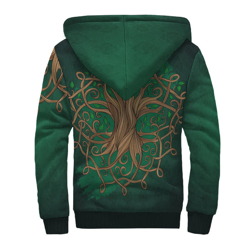 Ireland Sherpa Hoodie - Éire Map with Celtic Style - Green - Back - For Men and Women