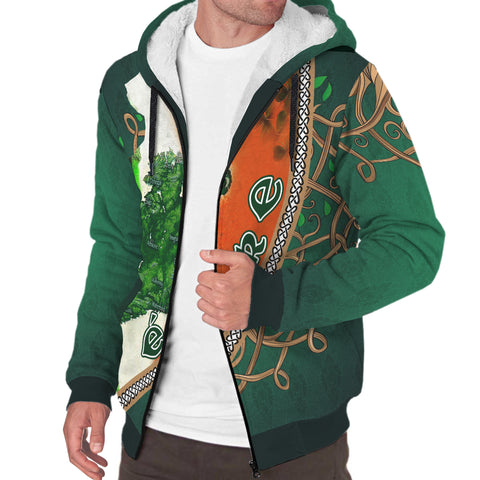 Ireland Sherpa Hoodie - Éire Map with Celtic Style - Green - Front and Sleeves - For Men and Women