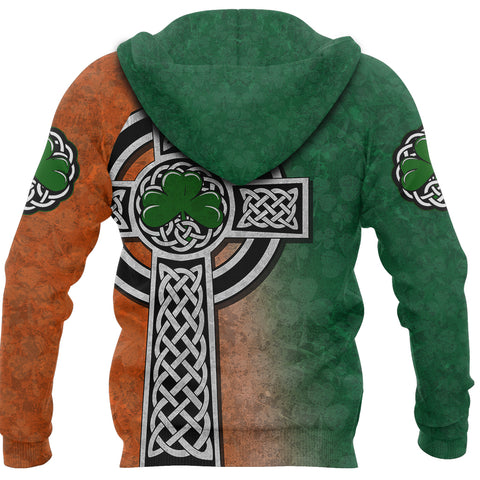 Irish Celtic Cross Shamrock Hoodie - Celtic Nations back