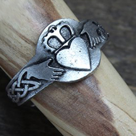 Image of Claddagh Ring - Handcrafted Pewter Ring - Celtic Knot Ring - Adjustable - Celtic Inspired - Claddagh Ring TH7