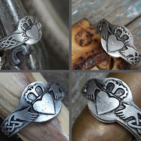 Claddagh Ring - Handcrafted Pewter Ring - Celtic Knot Ring - Adjustable - Celtic Inspired - Claddagh Ring TH7