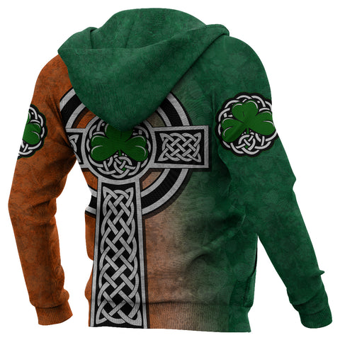 Irish Celtic Cross Shamrock Zip Hoodie - Celtic Nations K4