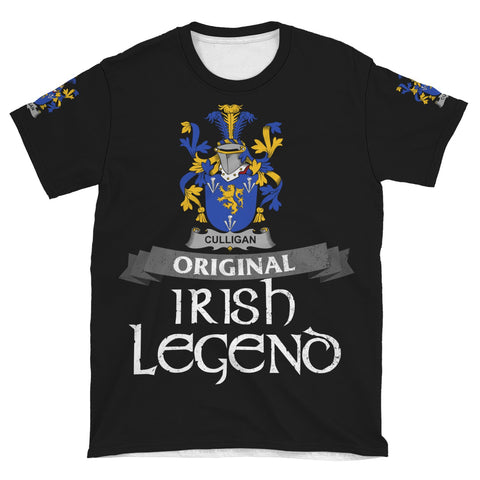 Irish Shamrock Celtic Cross Shirt, Culligan or McColgan Family Crest T-Shirt A7