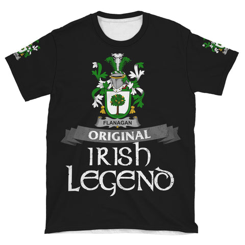 Irish Shamrock Celtic Cross Shirt, Flanagan or O'Flanagan Family Crest T-Shirt A7