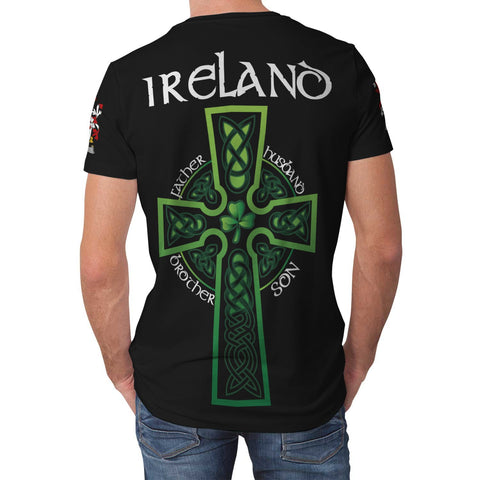 Image of Irish Shamrock Celtic Cross Shirt, Keogh or McKeogh Family Crest T-Shirt A7