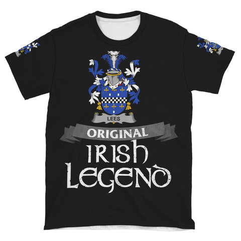 Irish Shamrock Celtic Cross Shirt, Lees or McAleese Family Crest T-Shirt A7