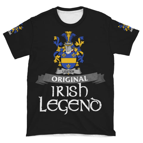 Irish Shamrock Celtic Cross Shirt, Lester or McAlester Family Crest T-Shirt A7