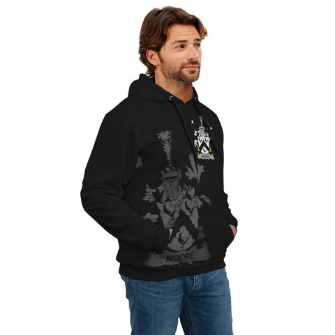 Ireland Surname Hoodie, Moore Family Crest Coat Of Arms Pullover Hoodie