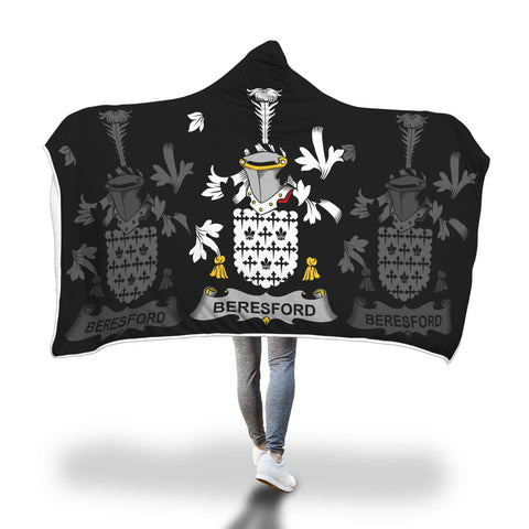Image of Irish Sherpa Blanket, Beresford Family Crest Hooded Blanket A7