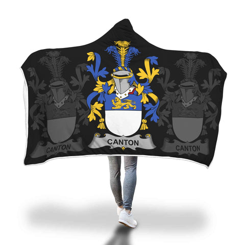 Irish Sherpa Blanket, Canton Family Crest Hooded Blanket A7