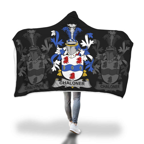 Irish Sherpa Blanket, Chaloner Family Crest Hooded Blanket A7