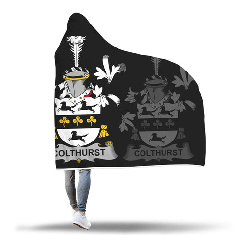 Image of Irish Sherpa Blanket, Colthurst Family Crest Hooded Blanket A7