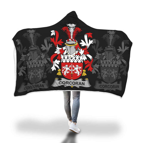 Irish Sherpa Blanket, Corcoran or McCorcoran Family Crest Hooded Blanket A7