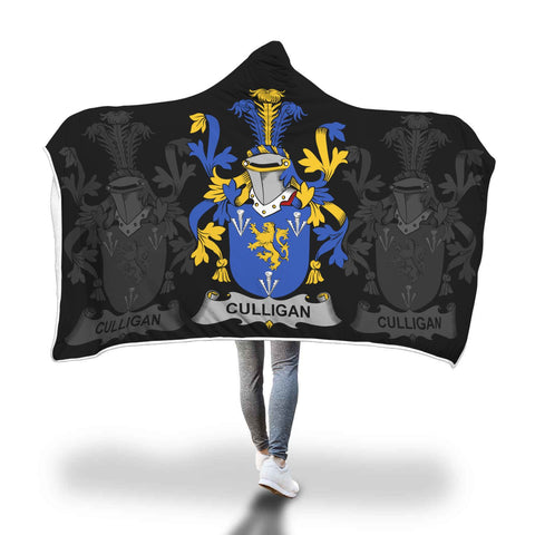 Irish Sherpa Blanket, Culligan or McColgan Family Crest Hooded Blanket A7