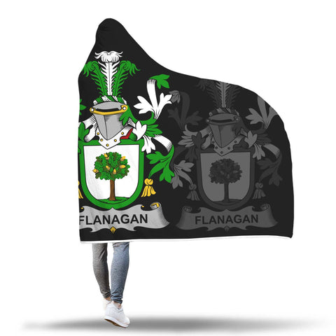 Image of Irish Sherpa Blanket, Flanagan or O'Flanagan Family Crest Hooded Blanket A7