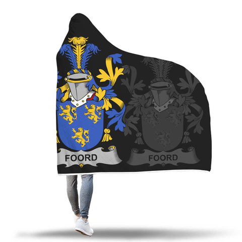 Irish Sherpa Blanket, Foord Family Crest Hooded Blanket A7