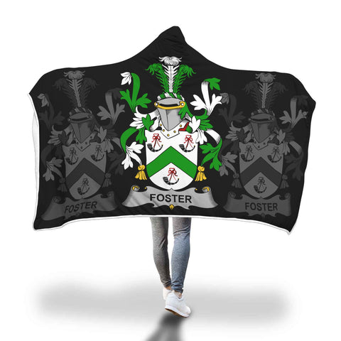 Irish Sherpa Blanket, Foster Family Crest Hooded Blanket A7