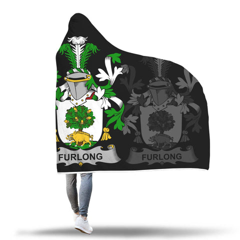 Image of Irish Sherpa Blanket, Furlong Family Crest Hooded Blanket A7
