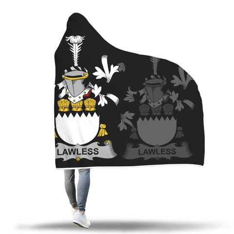 Irish Sherpa Blanket, Lawless Family Crest Hooded Blanket A7