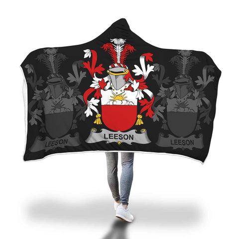 Irish Sherpa Blanket, Leeson Family Crest Hooded Blanket A7