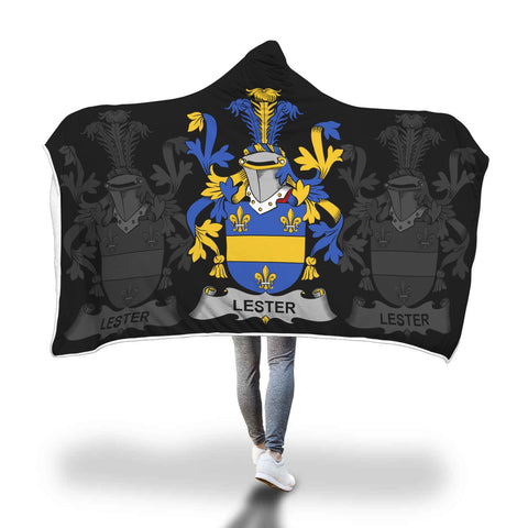 Irish Sherpa Blanket, Lester or McAlester Family Crest Hooded Blanket A7