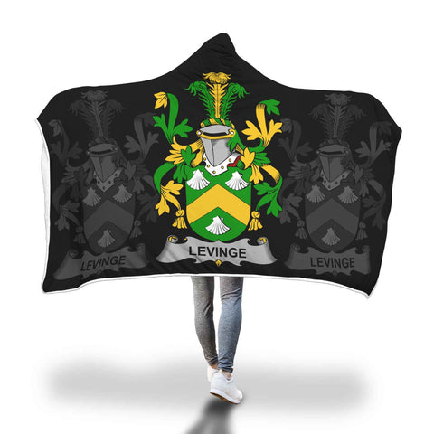 Irish Sherpa Blanket, Levinge or Levens Family Crest Hooded Blanket A7