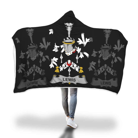 Irish Sherpa Blanket, Lewis Family Crest Hooded Blanket A7