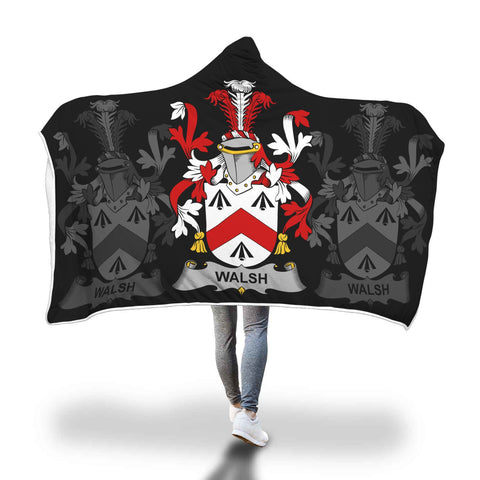 Irish Sherpa Blanket, Walsh Family Crest Hooded Blanket A7