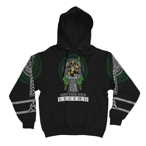 Irish Celtic Hoodie, Brady or McBrady Family Crest Shamrock Pullover Hoodie Golden Style A7