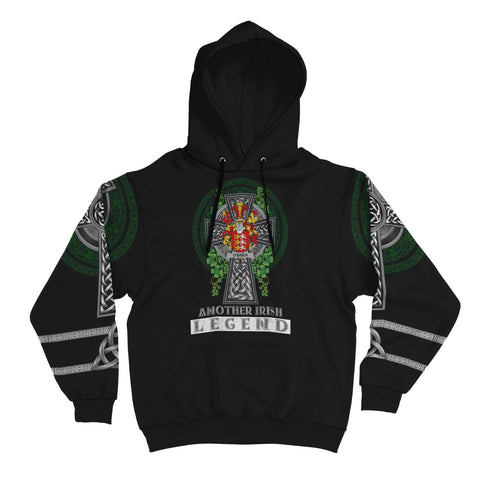 Irish Celtic Hoodie, Brien or O'Brien Family Crest Shamrock Pullover Hoodie Golden Style A7