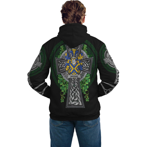 Irish Celtic Hoodie, Brogan or O'Brogan Family Crest Shamrock Pullover Hoodie Golden Style A7
